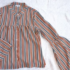 Love, Fire Striped Button Down Bell Sleeve Shirt S